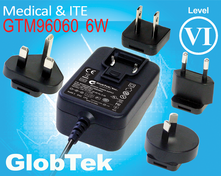 GlobTek's Level VI Compliant Medical and ITE Power Supply / Charger Offers Interchangeable International Blades and Outputs of 5 – 24Vo!