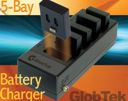 Battery Pack And 5-Bay Battery Charger System For Mobile Handheld Equipment Applications